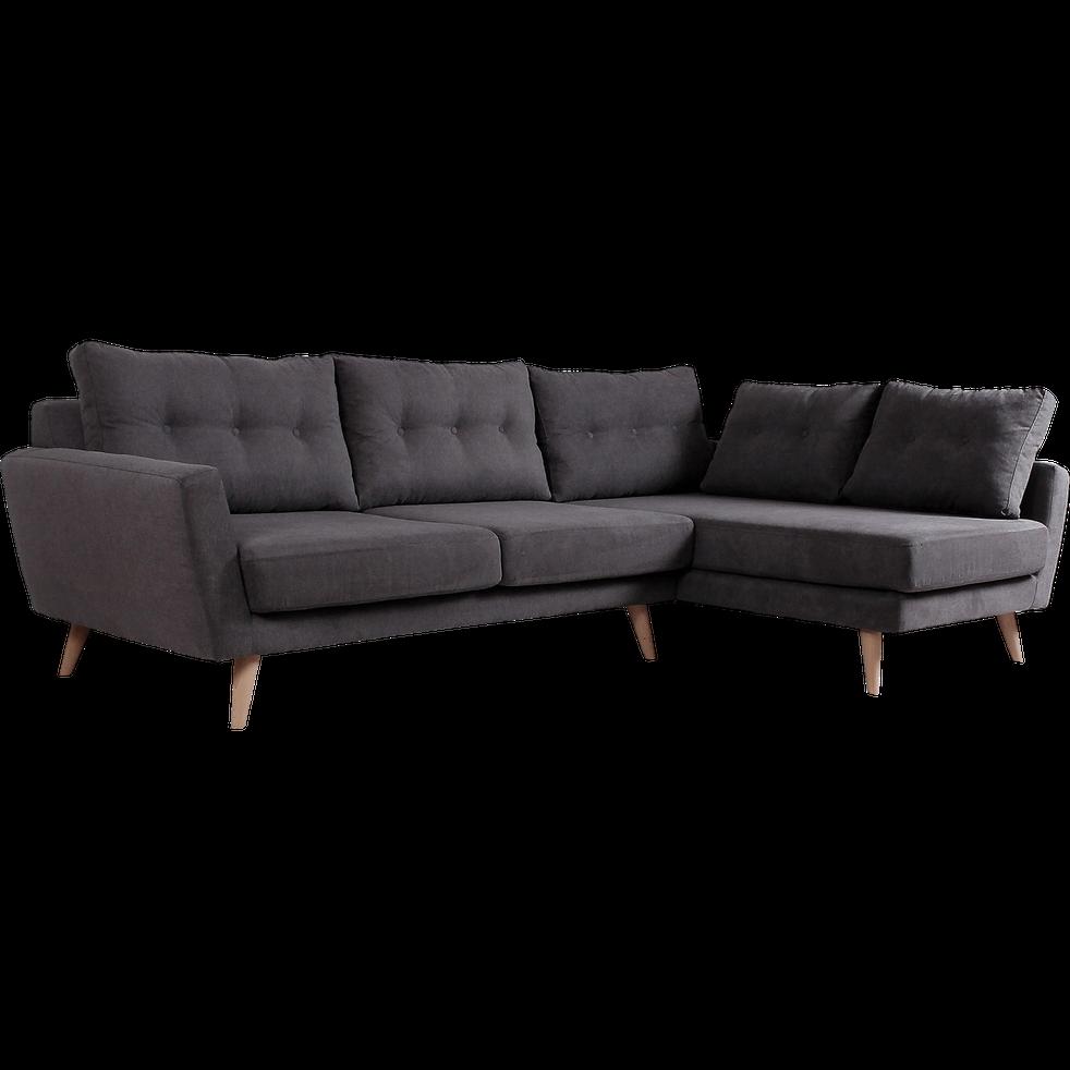 canap d 39 angle fixe droit en tissu gris icone canap s. Black Bedroom Furniture Sets. Home Design Ideas