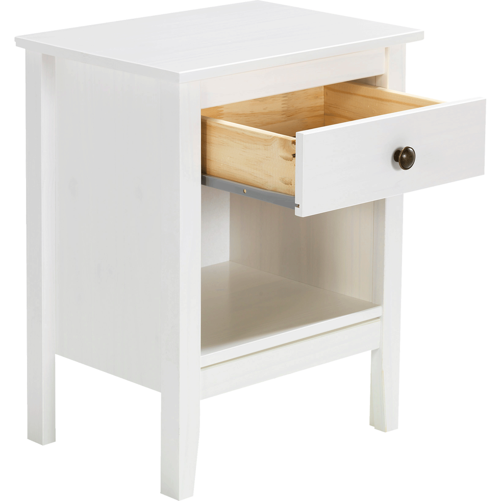 table de chevet en pin massif blanc 1 tiroir et 1 niche. Black Bedroom Furniture Sets. Home Design Ideas