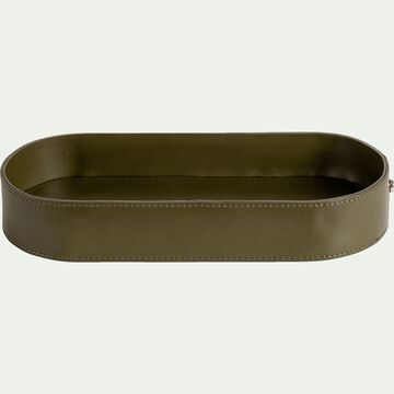 Vide-poche en cuir vert L12x25cm-EUGENIE