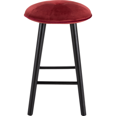 Tabouret de bar en velours rouge sumac - H66cm-AUGUSTIN