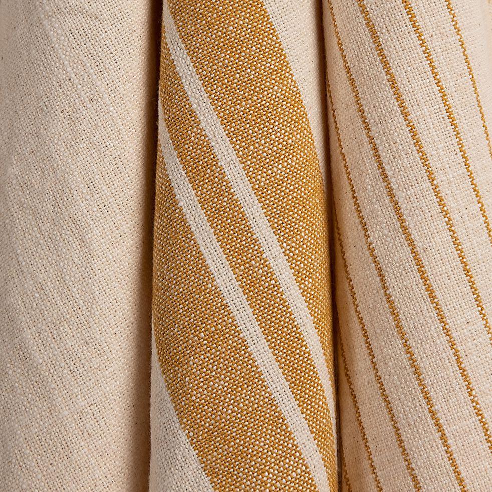 Lot de 3 torchons rayés en coton - beige et jaune 50x70cm-SANTIN