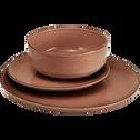 Assiette plate en faïence brun albe D27cm-LANKA