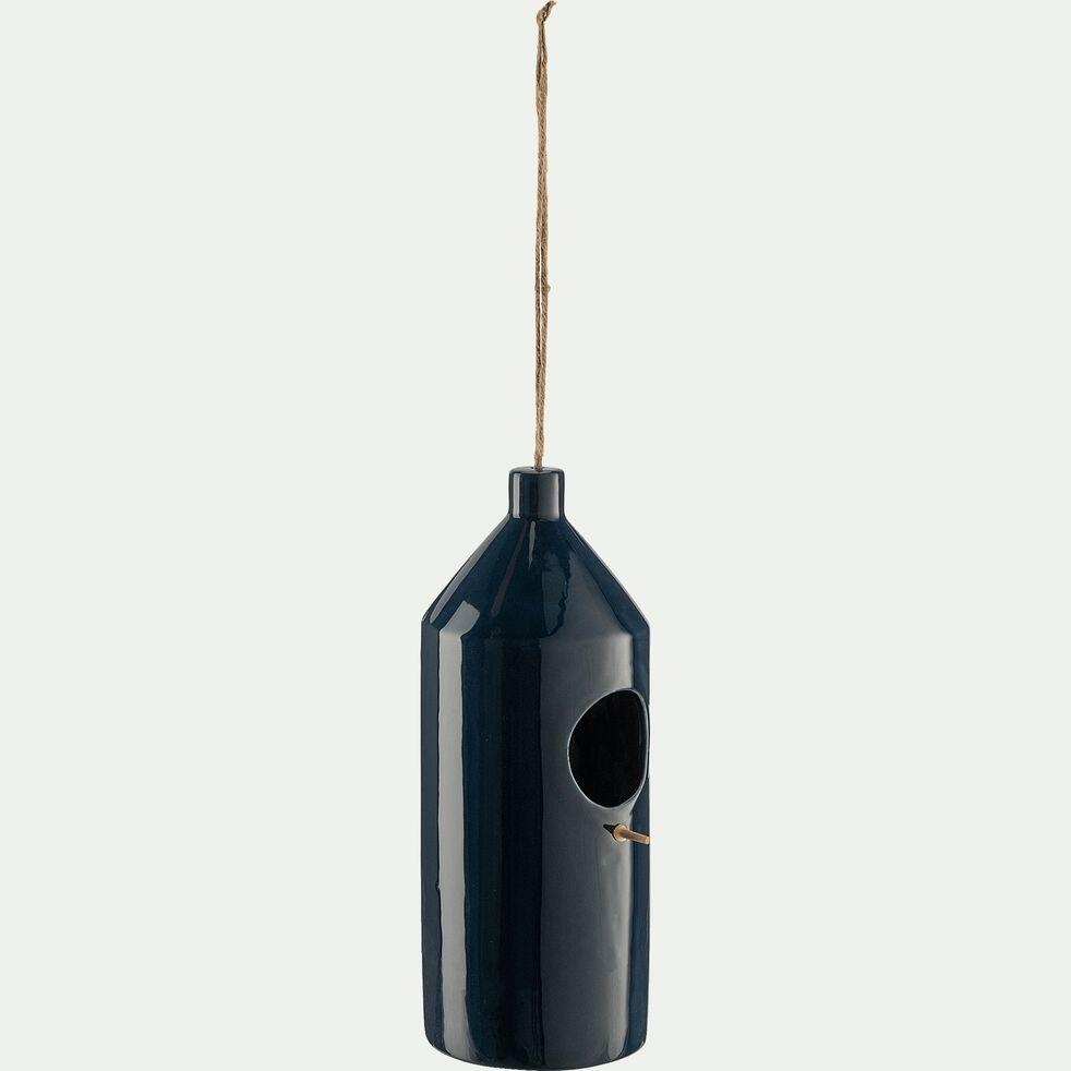 Mangeoire à oiseaux en céramique - bleu D11xH30cm-PRISCA