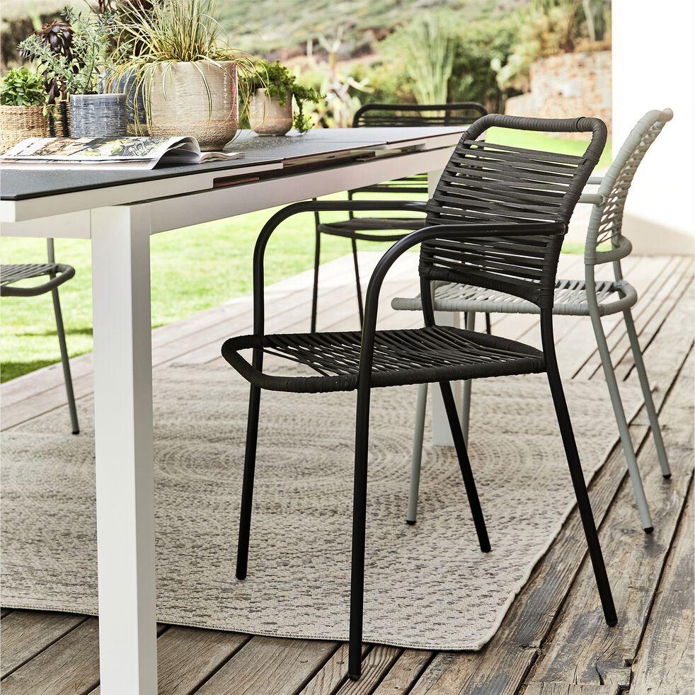 Chaise de jardin empilable avec accoudoirs en aluminium - noir-TALIS