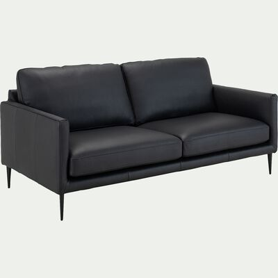 Canapé 3 places fixe en cuir de vachette - noir-TIMO
