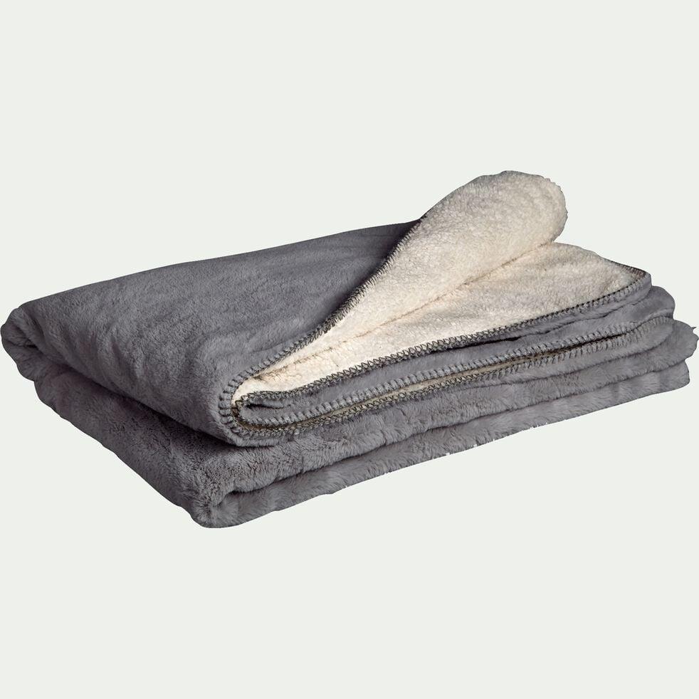 Plaid imitation fourrure en polyester - gris restanque 130x170cm-MARIUS