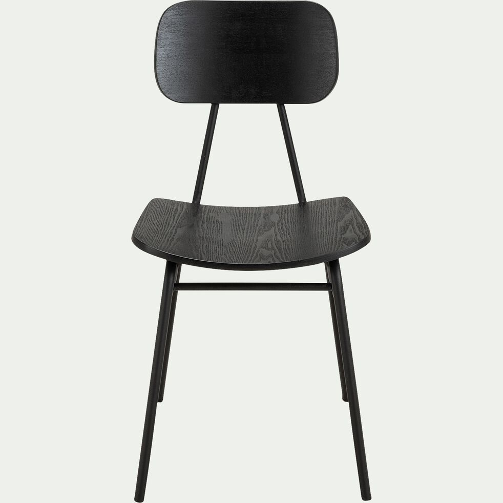 Chaise en bois de frêne et acier - noir-LORA