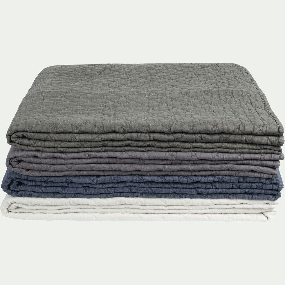 Couvre-lit en polyester effet lavé - bleu figuerolles 230x250cm-THYM
