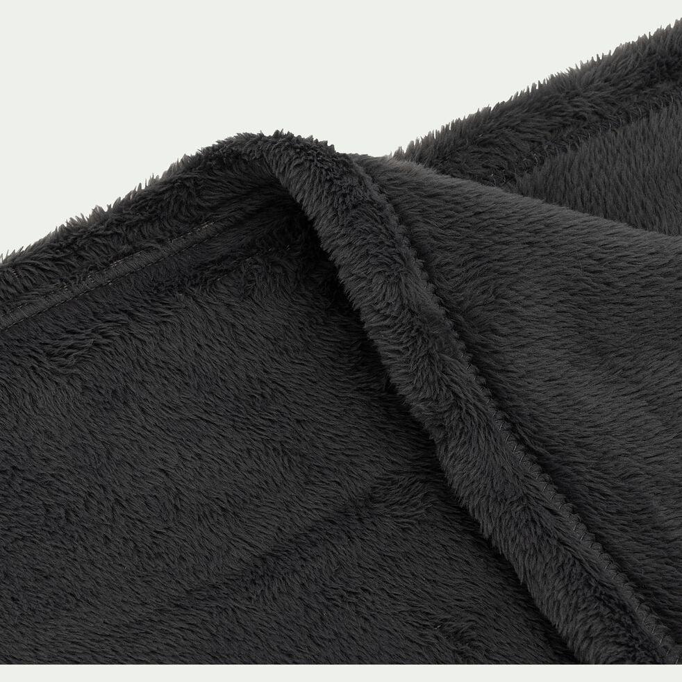 Plaid effet polaire en polyester - gris ardoise 130x170cm-ROBIN