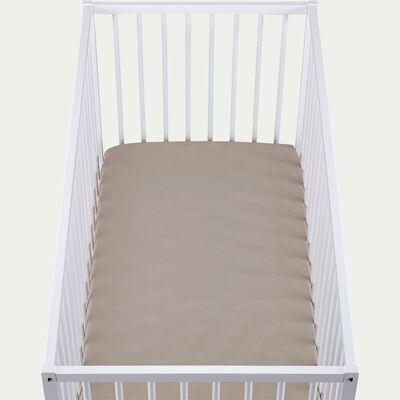 Drap housse bébé en coton bio 60x120+B15cm - beige alpilles-Calanques