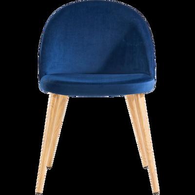 Chaise en velours bleu-ROMANE