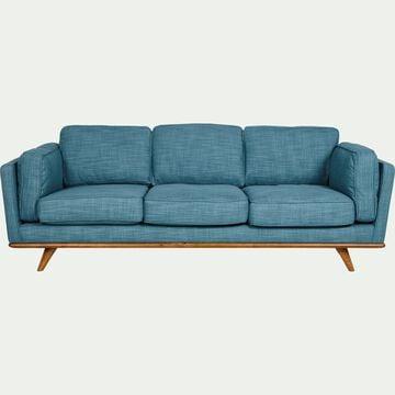 Canapé 3 places fixe en tissu bleu-ASTORIA