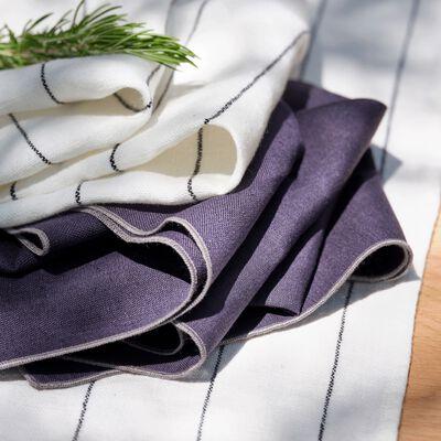 Chemin de table rayé en lin blanc 50x145cm-BORSALINO