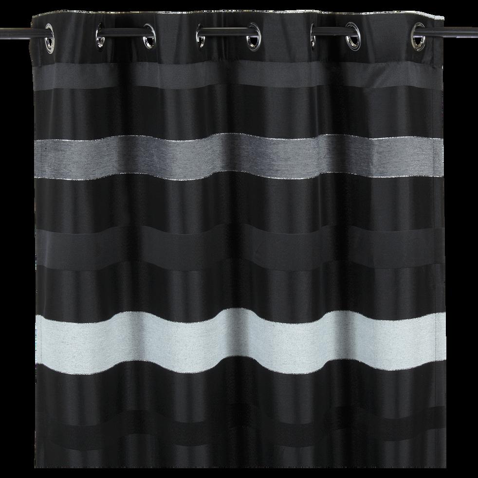 Rideau à oeillets brillant noir 140x270cm-Edimbourg