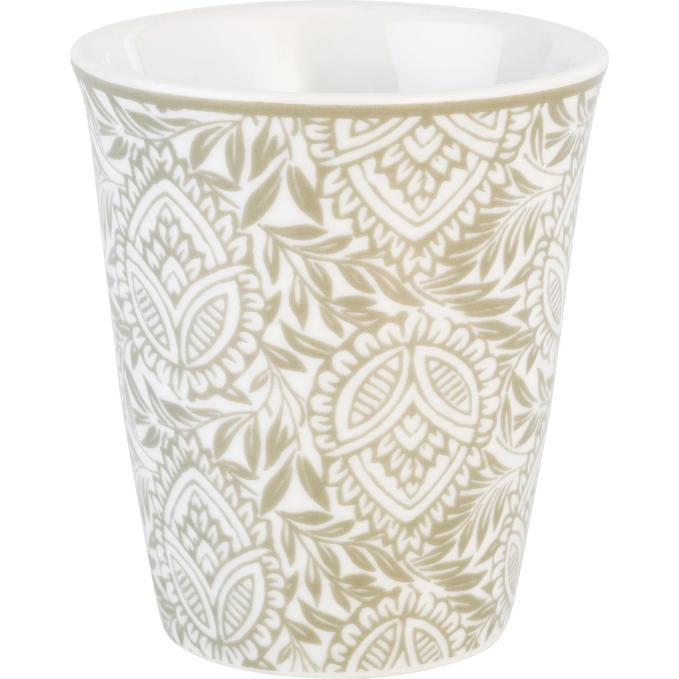 Lot de 6 tasses en porcelaine décorées gris borie 9cl-CAMILLE