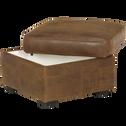 Pouf coffre en croûte de cuir vieilli-Cuba