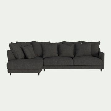 Canapé d'angle gauche fixe en tissu joint - gris restanque-LENITA
