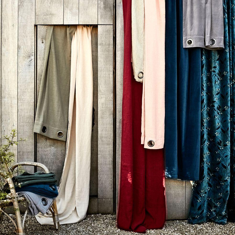 Rideau à œillets en velours de coton motif Fleur d'oranger - vert 135x250cm-FLEUR D'ORA
