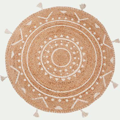 Tapis en jute rond à motifs ethniques et pompons - blanc D120cm-ANTALYA