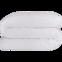 Housse de couette en percale de coton blanc 260x240cm-FLORE