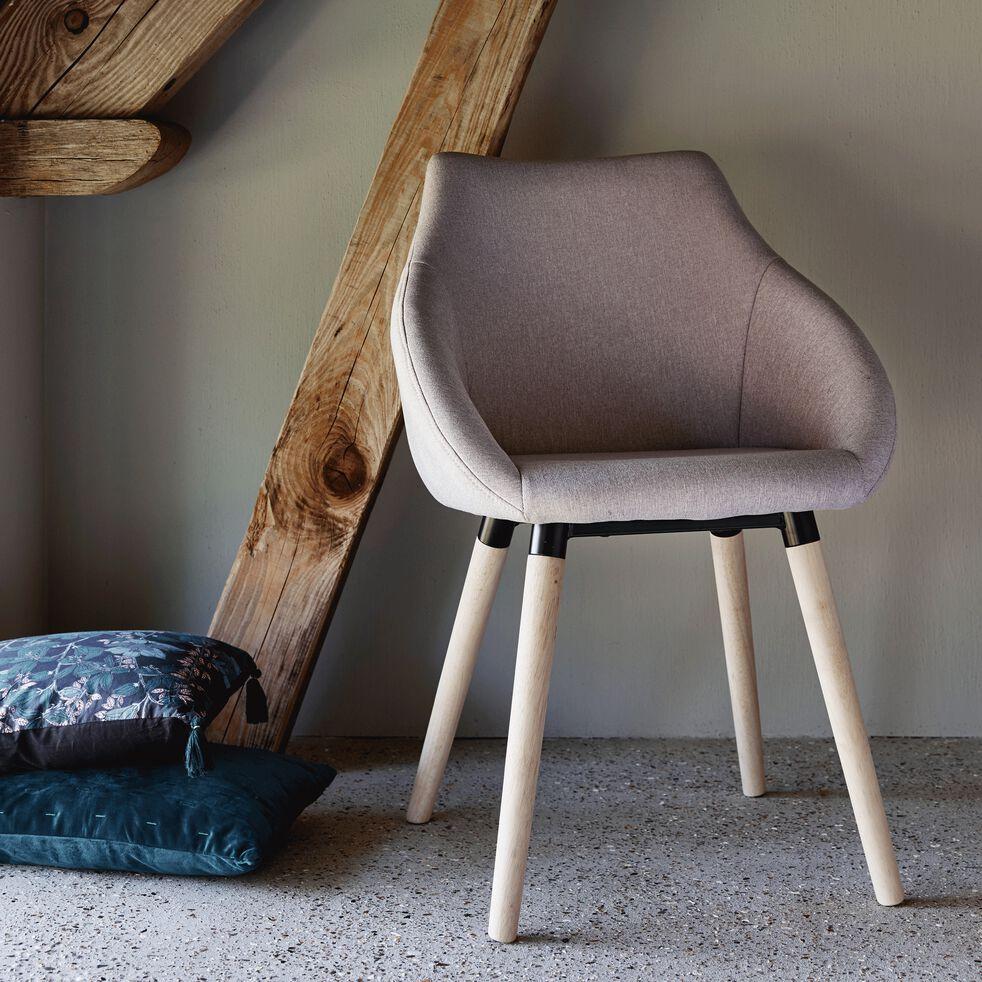 Chaise en tissu avec accoudoirs - gris clair-NOELIE