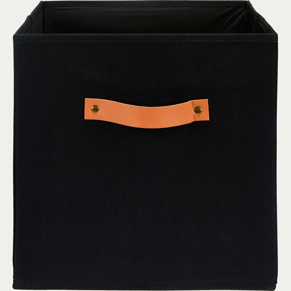 Panier de rangement en polycoton - noir H31xL31cm-ERRO