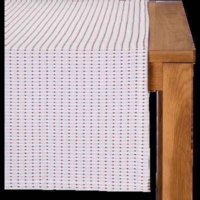 Chemin de table en coton à motifs rouge arbouse 50x150cm-LEA