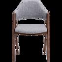 Chaise en tissu gris clair piètement métal effet bois-GONZAGUE