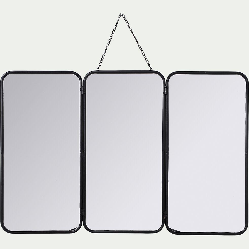 Miroir de barbier en fer - noir 96x109,5cm-CORENTIN