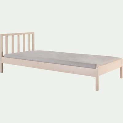 Lit 1 place enfant en bois avec tête de lit à barreaux 90x200cm - sable rosé --JAUME
