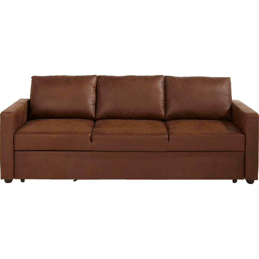 canap 3 places convertible en tissu marron vieilli tino. Black Bedroom Furniture Sets. Home Design Ideas