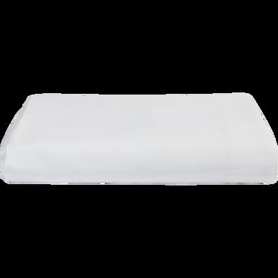 Drap plat en satin Blanc capelan rayé - 270x300 cm-SANTIS