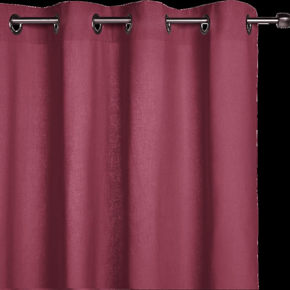 Rideau à oeillets en coton rouge arbouse 140x250cm-CALANQUES