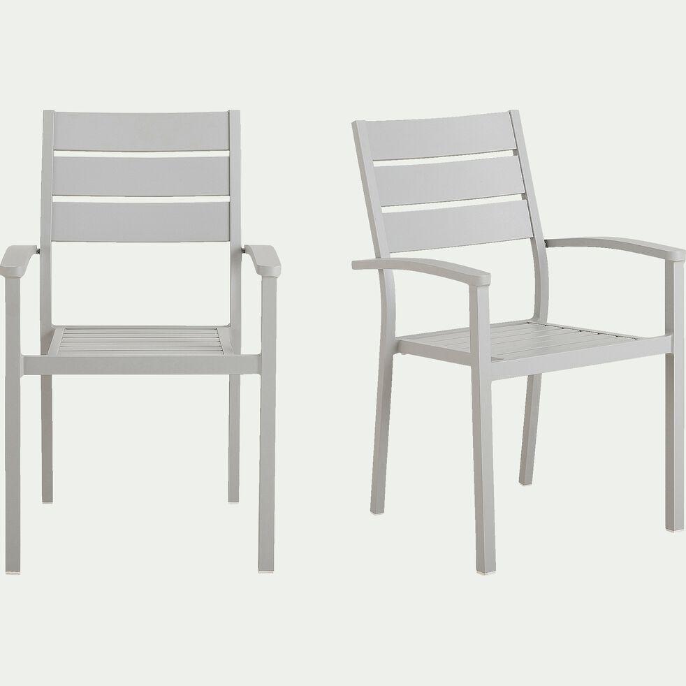Chaise de jardin empilable avec accoudoirs en aluminium gris borie-MARIA
