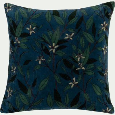 Coussin motif Fleur d'oranger en velours de coton - vert 40x40cm-ORANGER