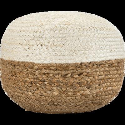 Pouf bicolore en jute 40X40X20 cm Blanc ventoux-MANDELIEU