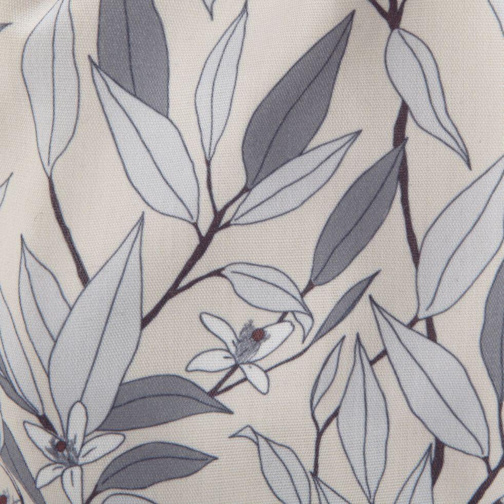 Pochon en polycoton motif Fleurs d'oranger - beige D12xH20cm-ALEXIA