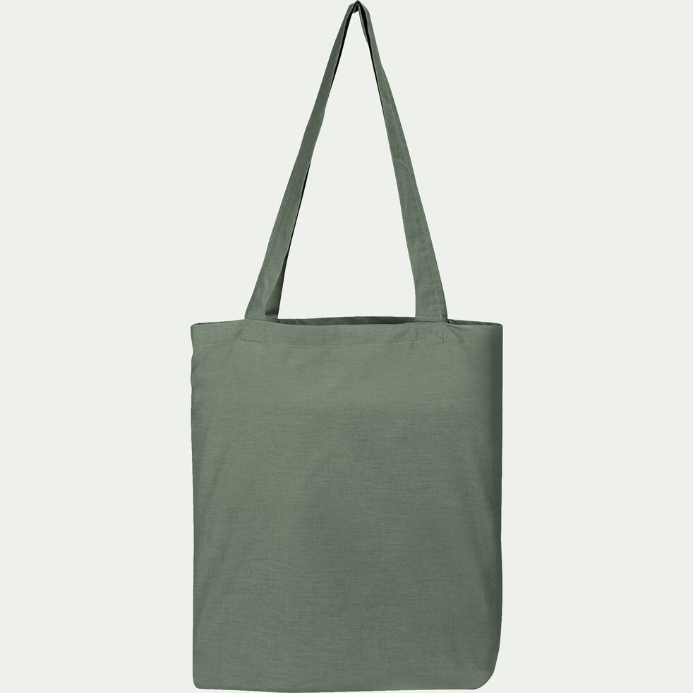 Housse de couette en percale de coton - vert cèdre 240x220cm-FLORE