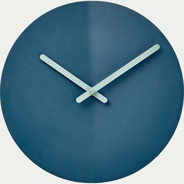 Horloge silencieuse en fer - bleu figuerolles D25cm-ANOR