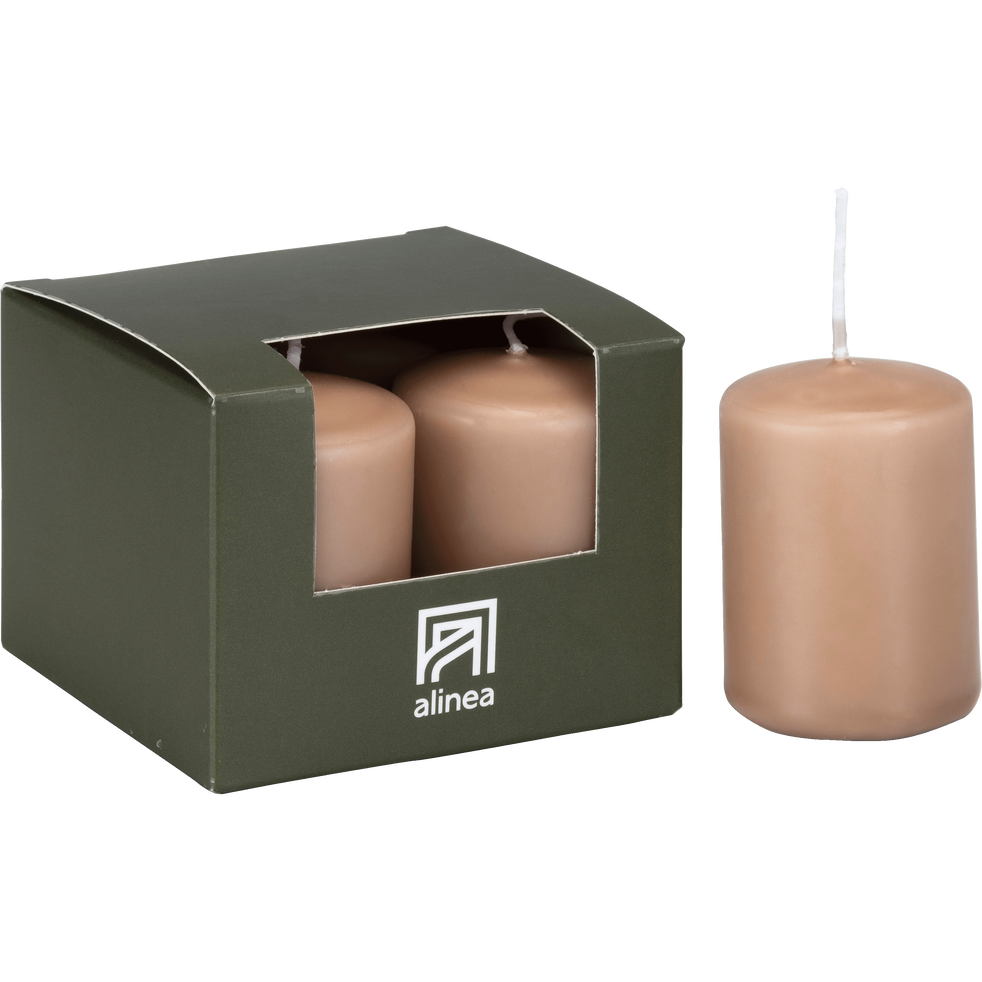 4 bougies votives rose argile-HALBA