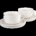 Lot de 2 tasses et sous-tasses en grès blanc 9cl-CELTON