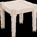 Pouf en bois carré 40x40cm blanc capelan-AGNEL