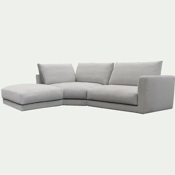 Canapé d'angle 4 places gauche en tissu - beige roucas-AUDES