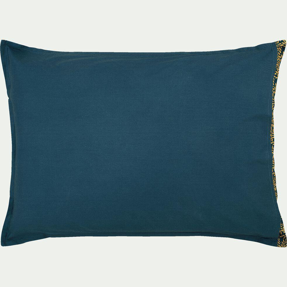 Lot de 2 taies d'oreiller en percale de coton - bleu 50x70cm-LIVIA