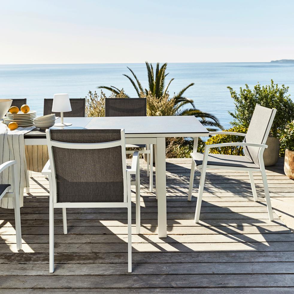 Fauteuil de jardin en aluminium gris et blanc lanciano chaises de jardin alinea - Alinea fauteuil jardin ...