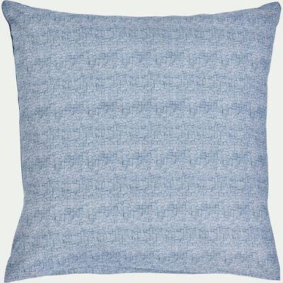 Lot de 2 taies d'oreiller en coton - bleu figuerolles 63x63cm-CANIS