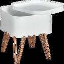 Bout de canapé blanc rangeant avec pieds épingles-LINO
