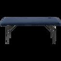 Banc en velours bleu figuerolles piètement métal - L134cm-LISON