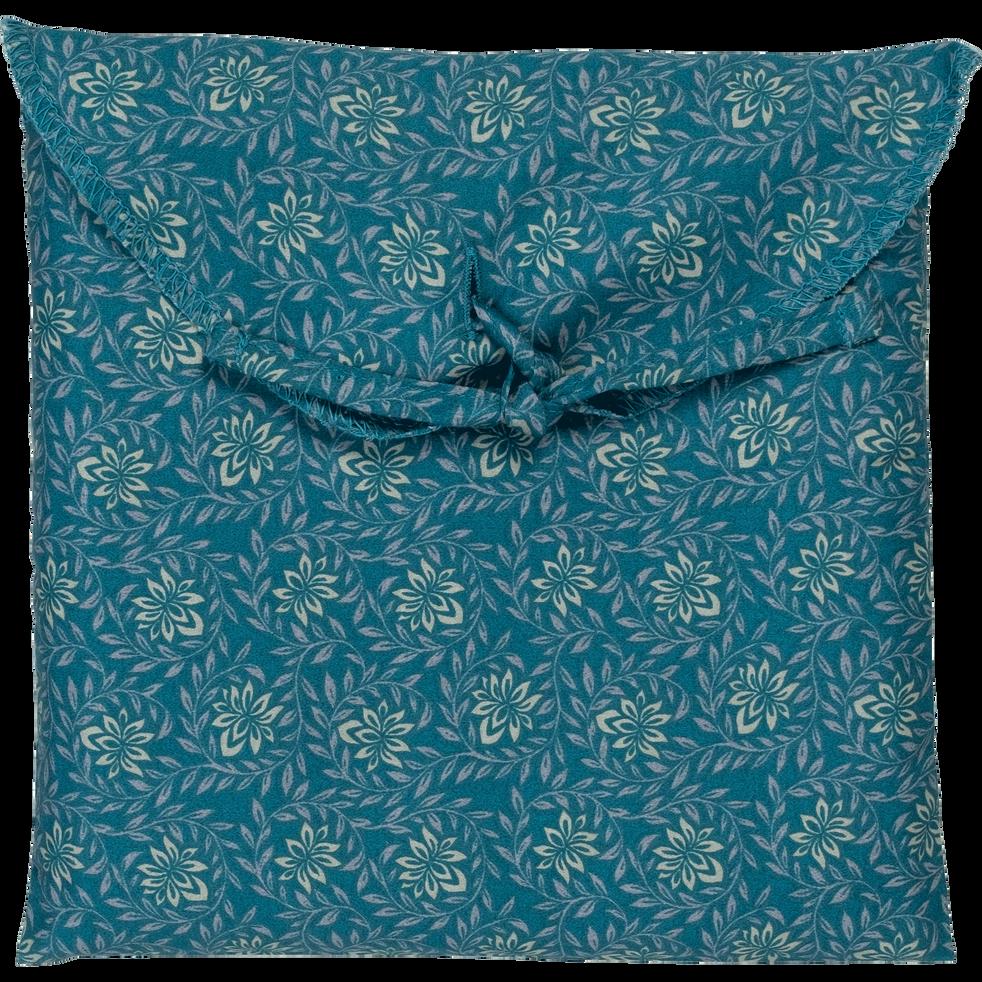 Lot de 2 taies d'oreiller 63x63cm en satin motif fleurs de jasmin-SOUN