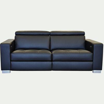 Canapé 2 places de relaxation en cuir accoudoirs 20cm - noir-MAURO